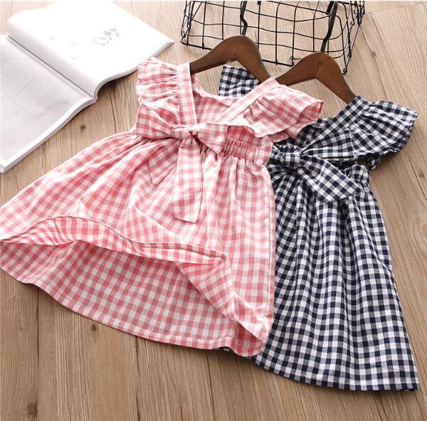 Cabritos del niño de verano de los bebés control de la guinga de la princesa del vestido del verano del partido vestidos del desfile Vestido infantil ropa de bebé niña