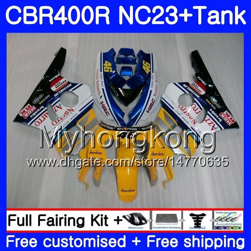 + Tanque para HONDA CBR400 RR NC23 CBR400RR 88 89 90 91 92 93 266HM.4 NC29 CBR 400 RR 400RR Amarillo blanco 1988 1989 1990 1991 1992 1993 Carenado