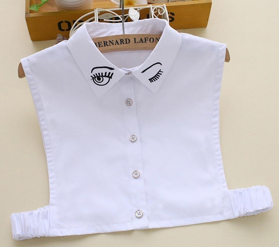 Gömlek Yeni Bayanlar dekore Dantel Yabani Sahte Triko Dekorasyon Sevimli Göz Yaka Beyaz Pembe Ve Beyaz Pamuk Collier Femme
