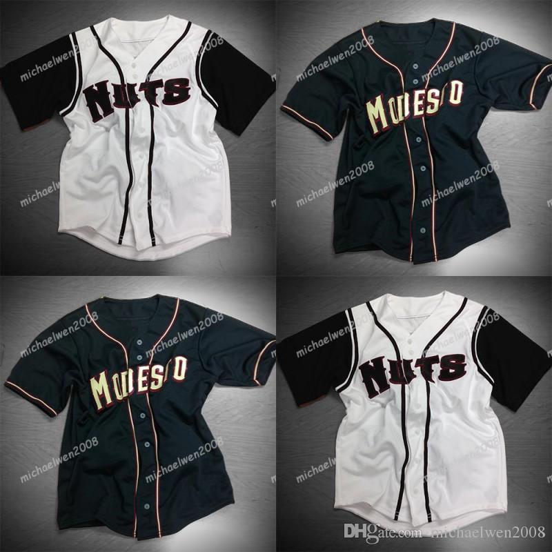 Camisas de beisebol costuradas dobro pretas brancas feitas sob encomenda brancas das camisas de Modesto dos homens de alta qualidade