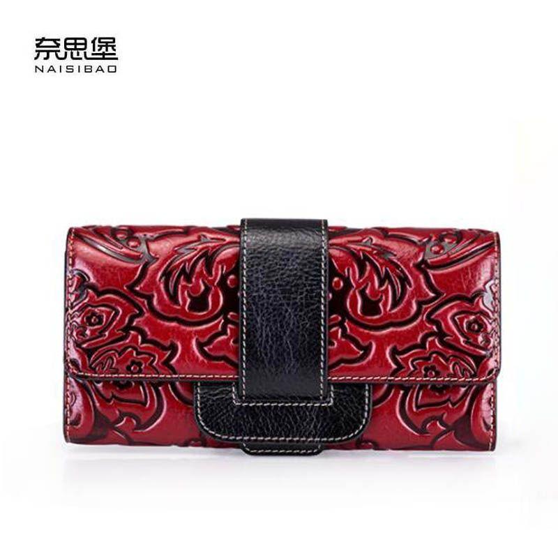 Novas mulheres saco de couro genuíno marcas de grife moda tecido padrão mulheres em relevo fivela em relevo carteiras longas sacos de embreagem