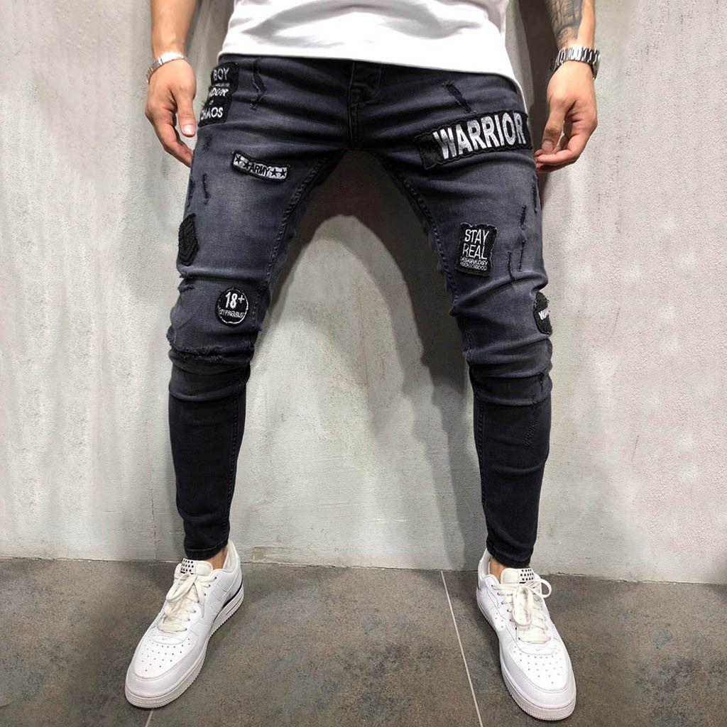 Abbigliamento uomo 2019 Jeans skinny Pantalone jeans elasticizzato uomo Homme Rotos Pantaloni jeans taschino Freeware skinny strappato distressed VE7