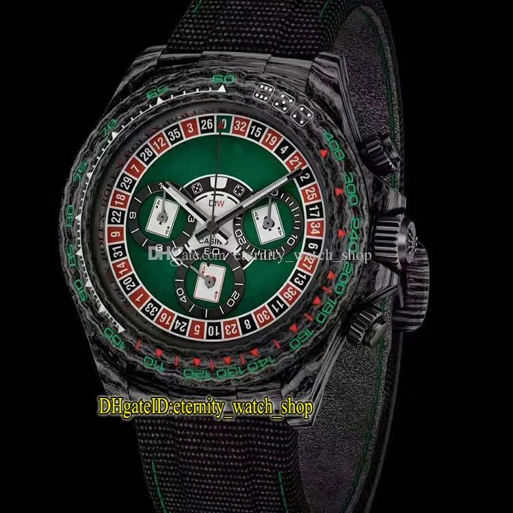 DIW Rimontare versione 116500LN 116500 cassa della fibra di carbonio Spade Poker Dial 7750 Orologi Cronografo Automatico 116520 Mens Watch Sapphire Designer