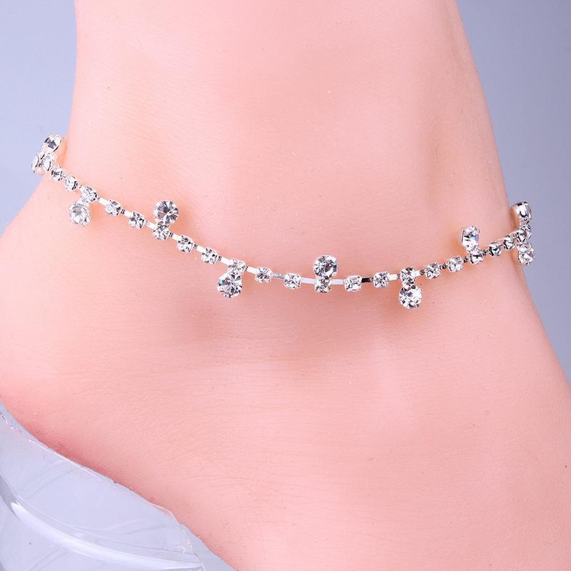 petits pompons de cristal cheville bracelets de cheville boho cheville bijoux pied de plage pour femmes et filles