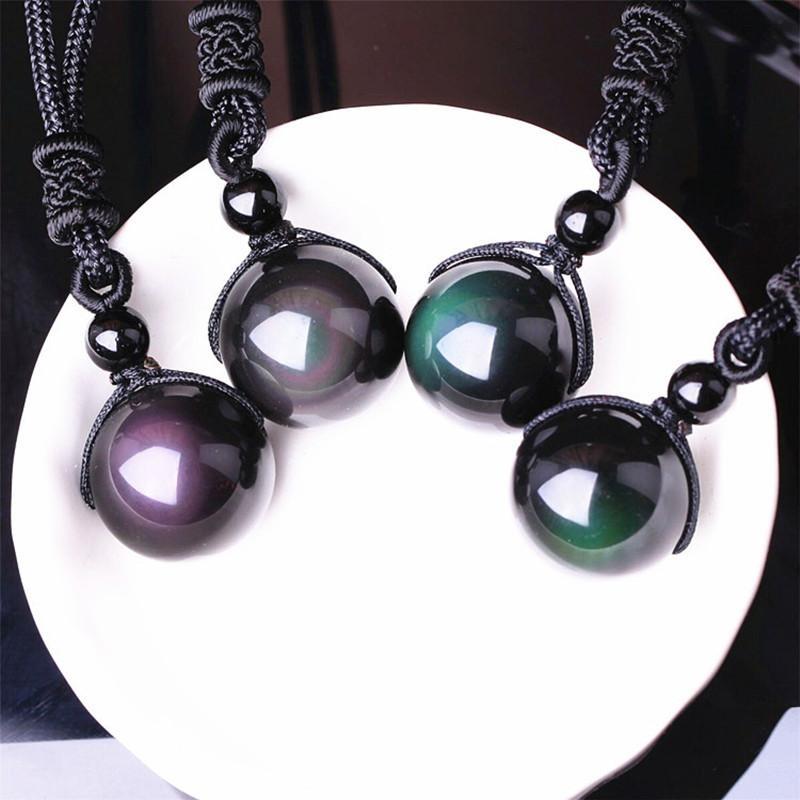 Transferencia negro obsidiana arco iris del ojo granos de la bola Natural collar colgante de piedra de cristal del amor de joyería afortunada de la cuerda libre para los hombres de las mujeres