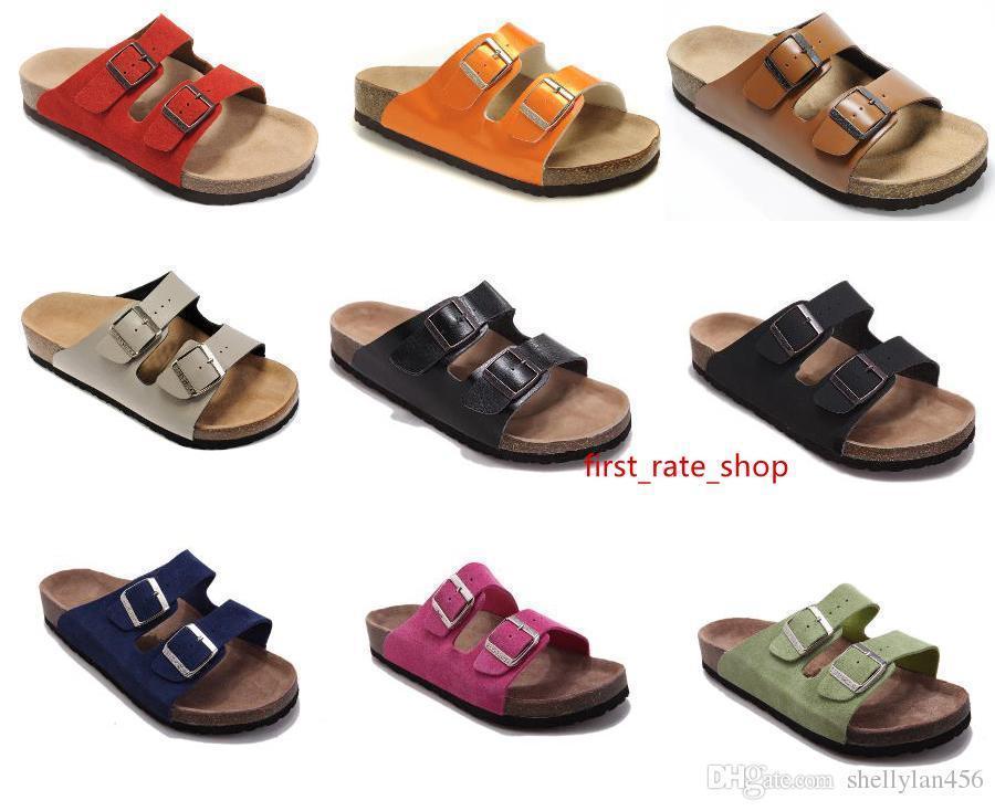 populaires chaussures en cuir de vache prix pas cher gros Casual deux boucle avec boîte de chaussures originales Arizona Summer Beach Véritable chausson en cuir