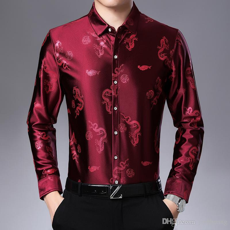 Camisa De Seda Dos Homens Camisas de Manga longa Primavera Outono Casual Guindaste Do Dragão Imprimir Camisa Floral