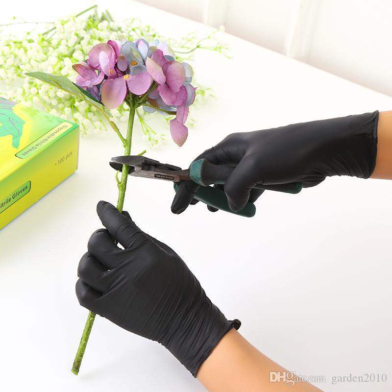 Ménage de protection Products100pcs Noir jetables Gants en latex pour le nettoyage de jardin en caoutchouc Gants alimentaires Gants Restauration de tatouage