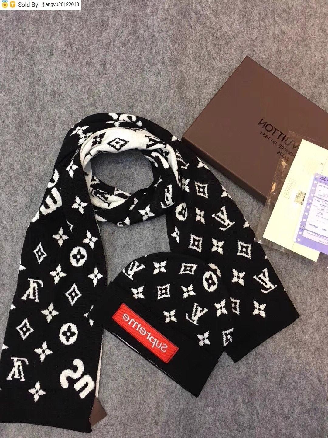 Christmas Gift Quality Printing Woolen Scarf Cap Set Men Cashmere wool Scarf hat 2pc PETIT DAMIER M70930 007 With Box