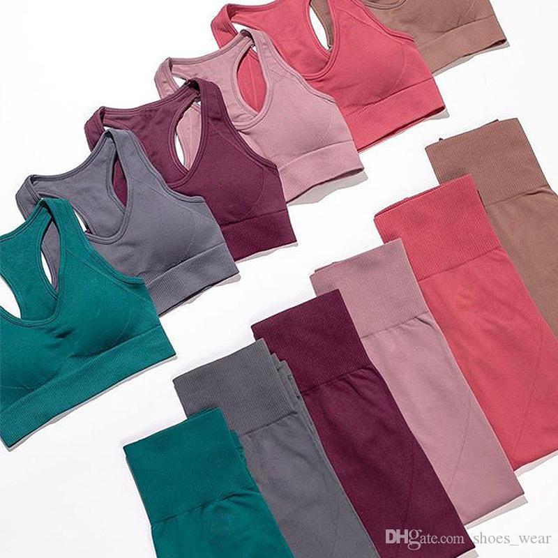 Mujeres Yoga Establece transpirable pantalones sólidos del chaleco + de las polainas aptitud que se ejecuta juego ropa de gimnasia Top Sexy Medias Ropa de deporte del chándal de entrenamiento