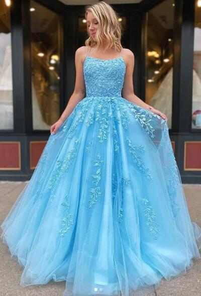 Eye Catching Ball Gown Prom Dresses Light Sky Blue/Dark Red/Yellow Long Evening Gowns Spaghetti