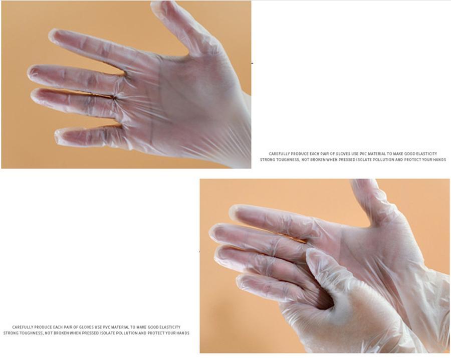 Pvc luvas claras descartável mãos transparentes de proteção de ferramentas de limpeza doméstica luvas de cozinha casa Luvas de protecção FFA3698