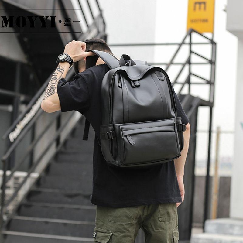 MOYYI 2019 Hot Sale Waterproof 14 inch Laptop Backpack Men Leather Backpacks for Teenager Travel Casual Daypacks Mochila Male CJ191221