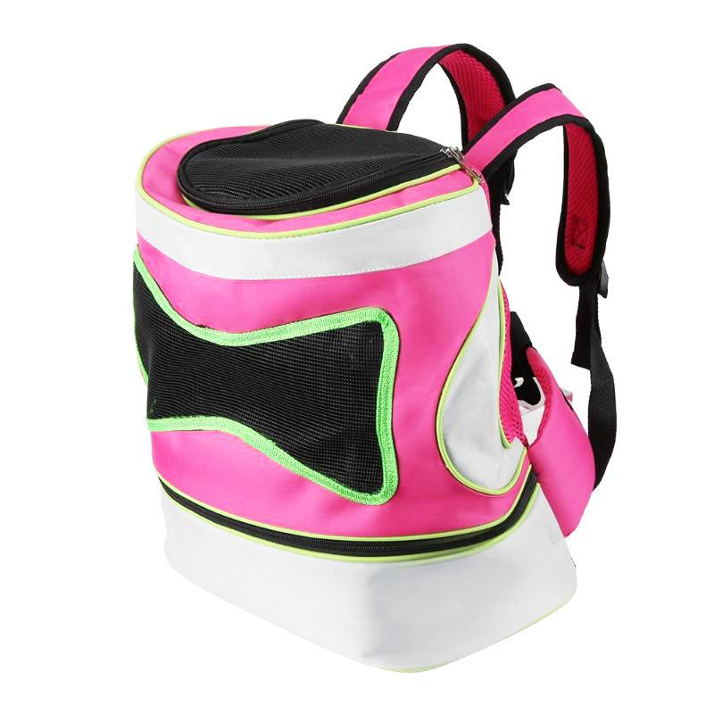 Pet Dog Mesh Solid Foldable Backpack Breathable Outdoor Travel Carrier Double Shoulder Bags For Small Dogs Cats PB755