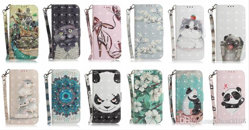 3D Flower Leather Wallet Case For Iphone XS MAX X XS XR 8 7 Plus 6 SE 5 Tiger Animal Cat Dog Panda Tiger Leopard Card ID Flip Cover Fashion