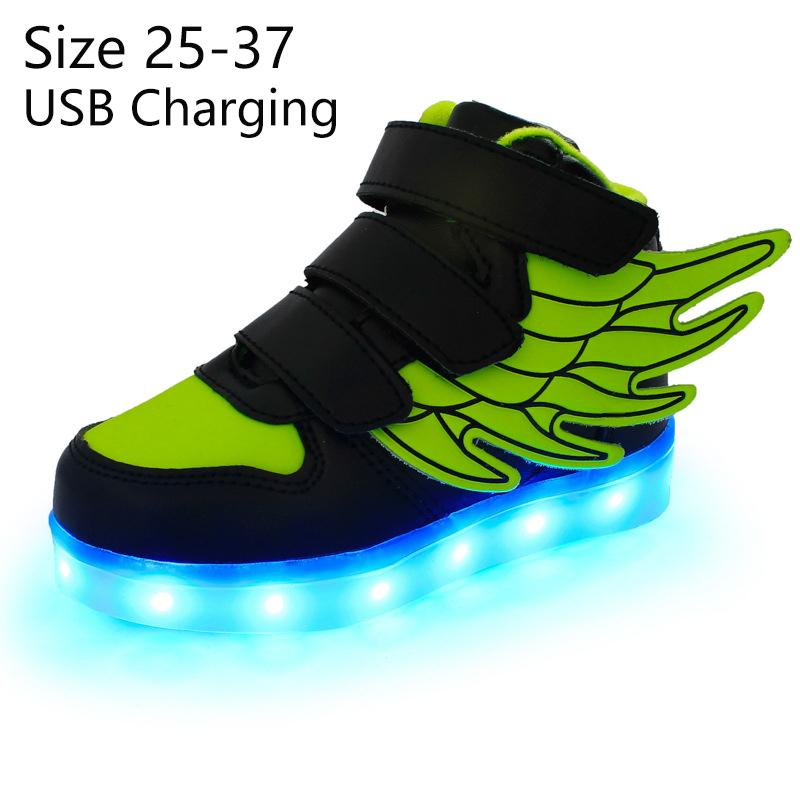 Kriativ Kids Light Up Shoes With Wing Led Slippers Led Shoes Infant For Children Boy&girl Luminous Sneakers Glowing Y19051403