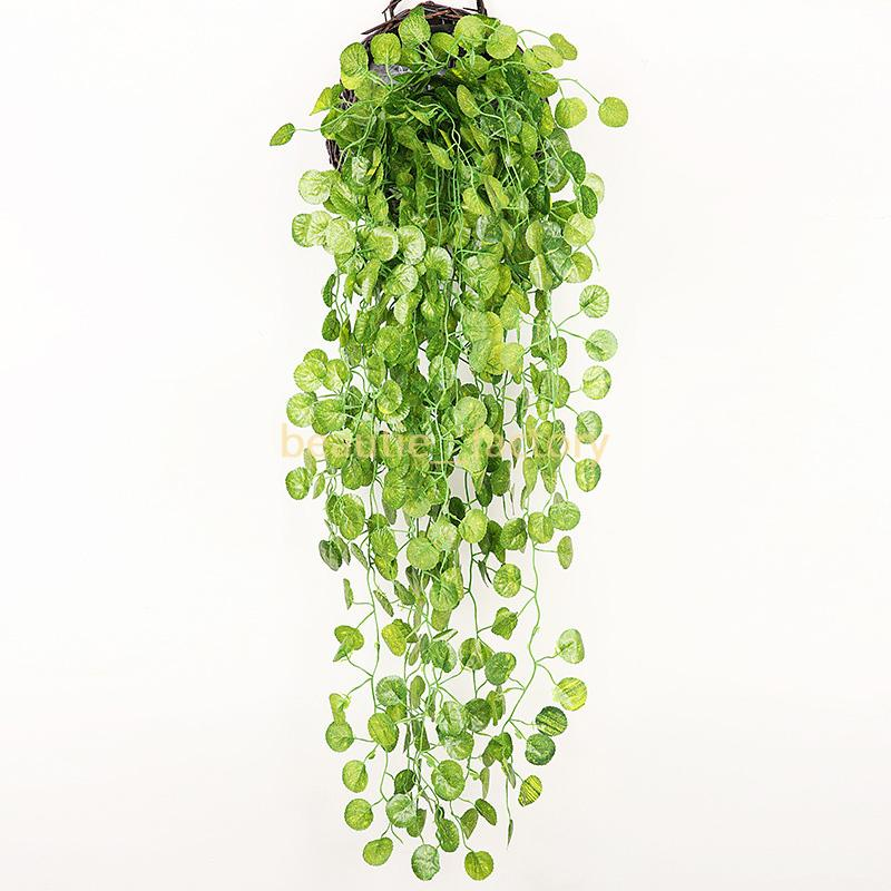 10pcs Hanging Vine Green Wall Fake Leaf Home Garland Decoration Plant Length 90cm (35 inch ) 5 style for choose