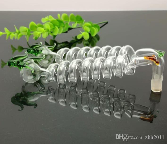 Multi-спираль изгиб горшка с цветом краном стекло затяжки Стекли Курение водопроводной трубы Rig шлангов стекло Чаша нефть Ожога