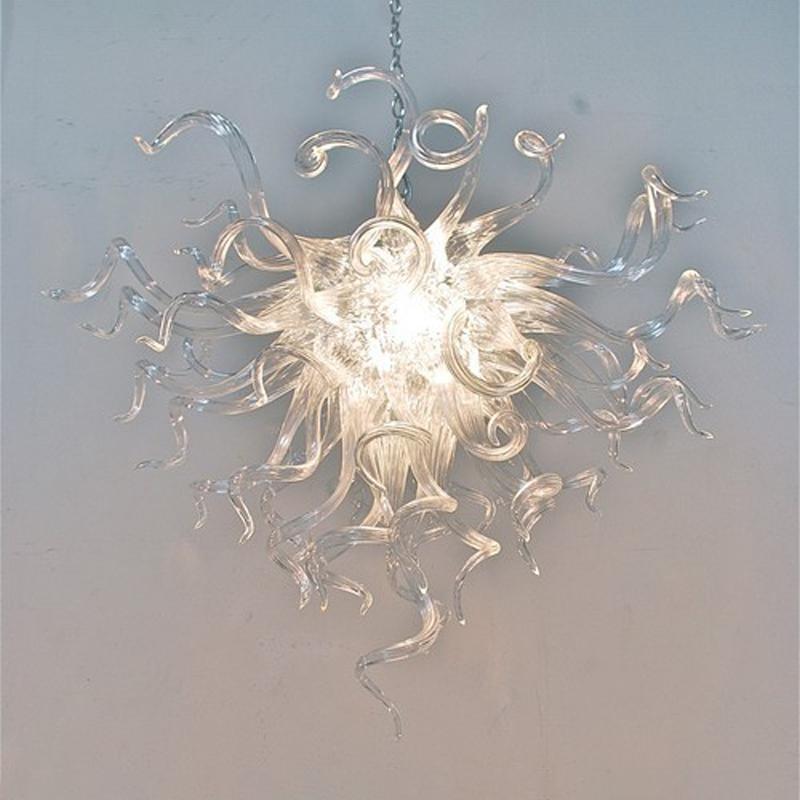 Düşük Maliyetli Temizle Kolye Lambaları Avizeler Modern Kolye Işık Lüks Kristal El LED Ampuller Ile Püskürtmeli Cam Avize