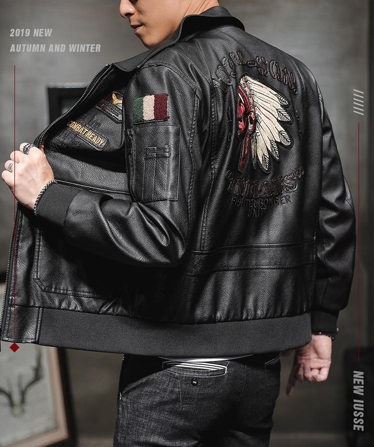 Giacca in pelle Moda Uomo PU autunno 2019 nuovi uomini di arrivo del ricamo casuale all'aperto giacche di alta qualità Camicie Uomo Abbigliamento taglie M-3XL