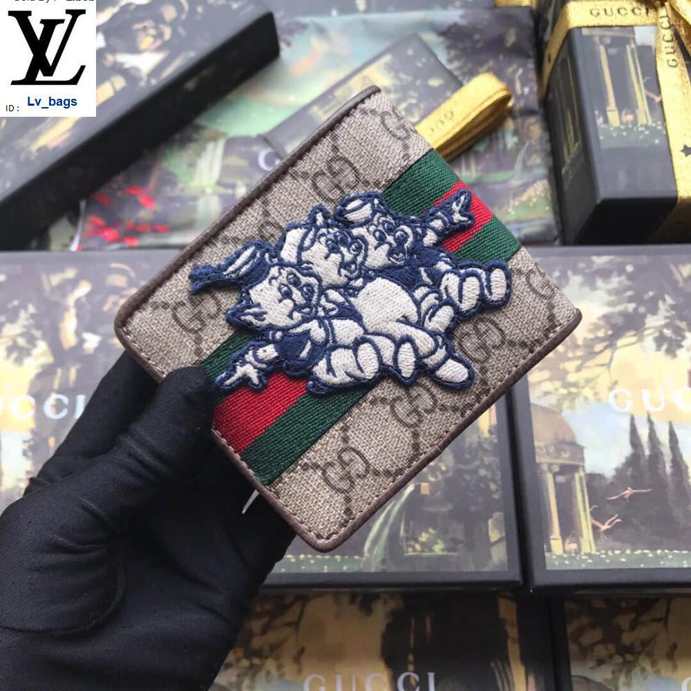 Yangzizhi New 557702 Three Piglet Pattern Short Wallet Purse Long Wallet Chain Wallets Compact Purse Clutches Evening Key