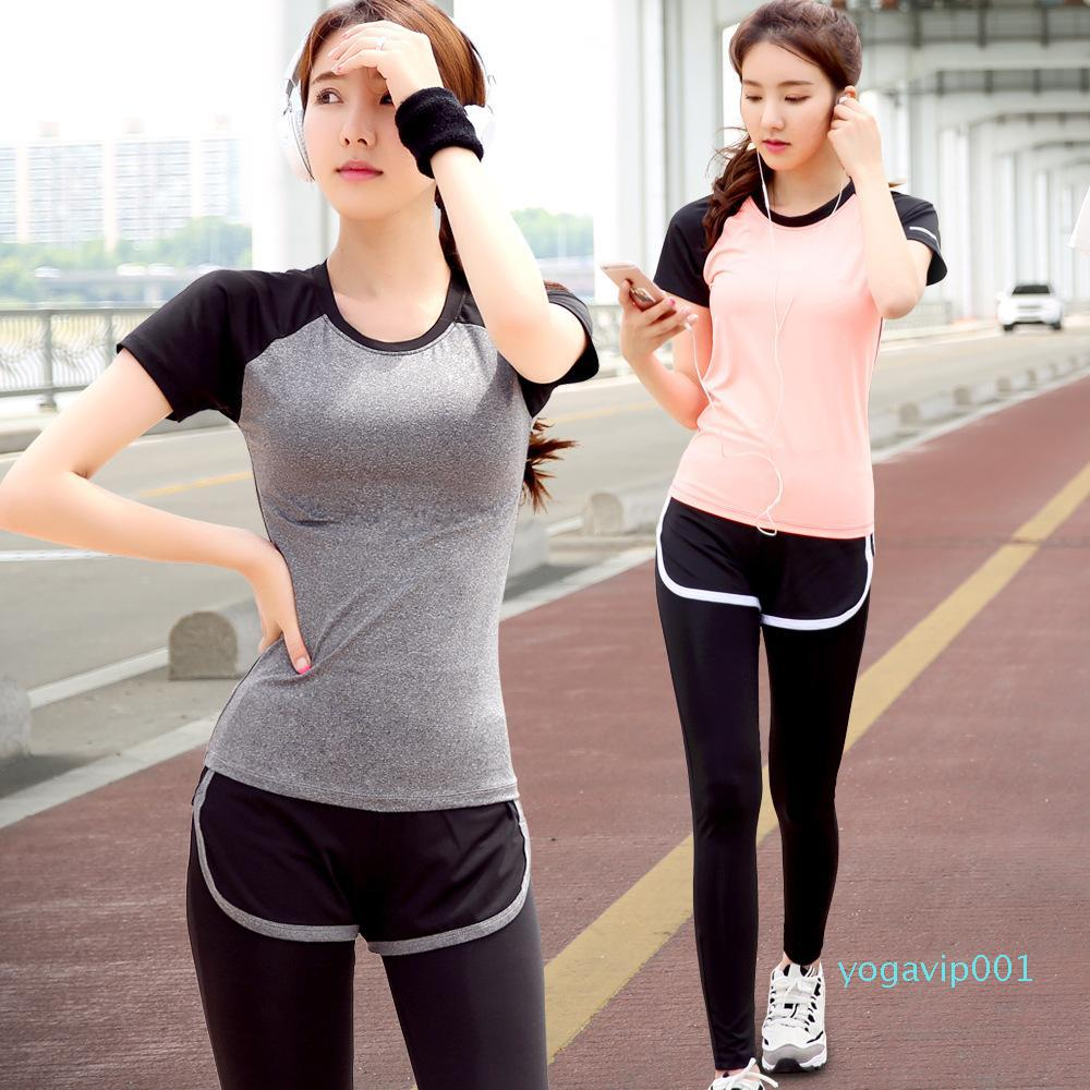 Summer sportswear sports suits women show thin speed dry running yoga clothes short sleeve fake two pants two sets