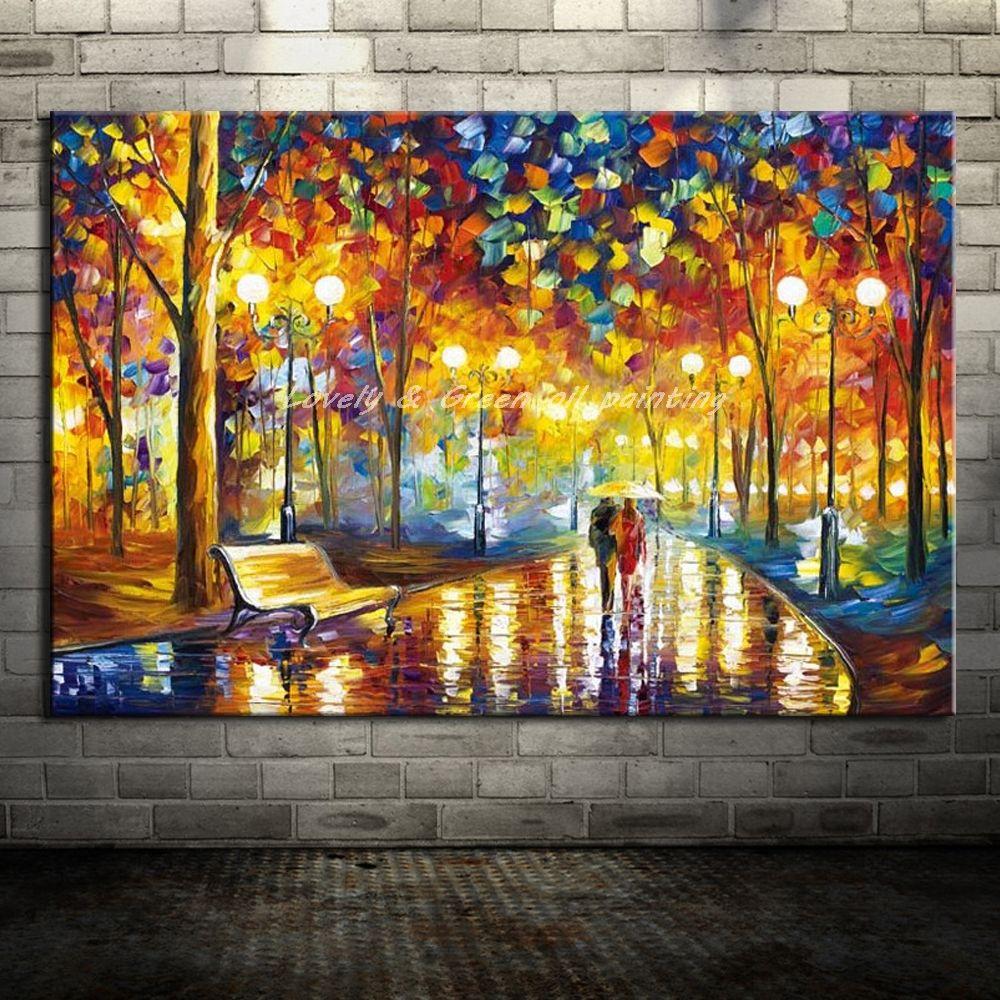 100 % 핸드 Painted Landscape Paintings 현대 홈 장식 벽 예술 그림 손으로 만든 팔레트 나이프 오일 페인팅 Canvas No Frame
