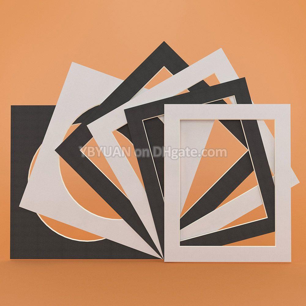 Resim Çerçevesi Paspartu Dekor 12PCS / Lot için Beyaz / Siyah Fotoğraf Mats Dikdörtgen Kare Yuvarlak Oval 10 inç Karton Mounts Dokulu Yüzey