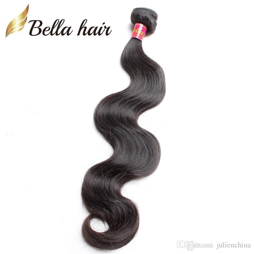 Vernie vierge malaisienne non traitée 100% extensions de cheveux humains ondulés Bundles de couleur naturelle