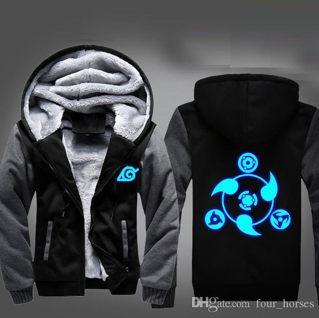 NARUTO0 Hoodie Print Hooded Zipper Sweatshirt Warm Coat Jacket Luminous Edition