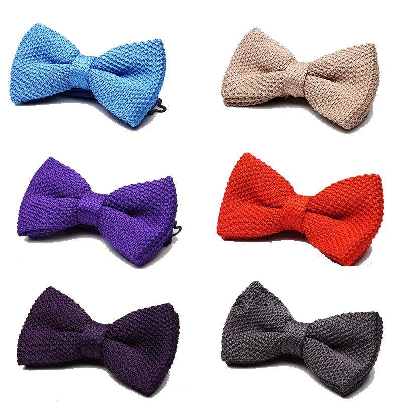 accesorios de los hombres de proa tejer sólido lazo de tejido mariposa borboleta knotbow vestimenta casual corbata de cuello 2 PC /
