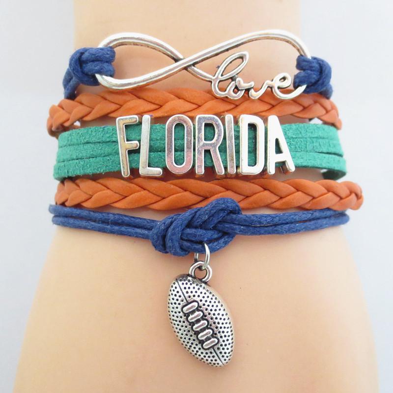 Ювелирные изделия Infinity Love Florida State Football Спортивная команда Браслет темно-синий оранжевый Спортивные браслеты дружбы B09020