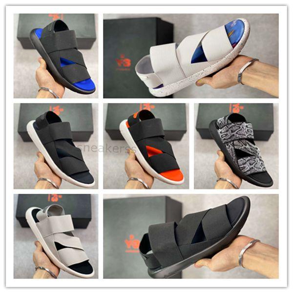 Klasik streç serisi avangard atletik sandalet Y-3 Qasa Elle Stretch Sandal Yaz rahat sandaletler erkekler kadınlar açık sandale