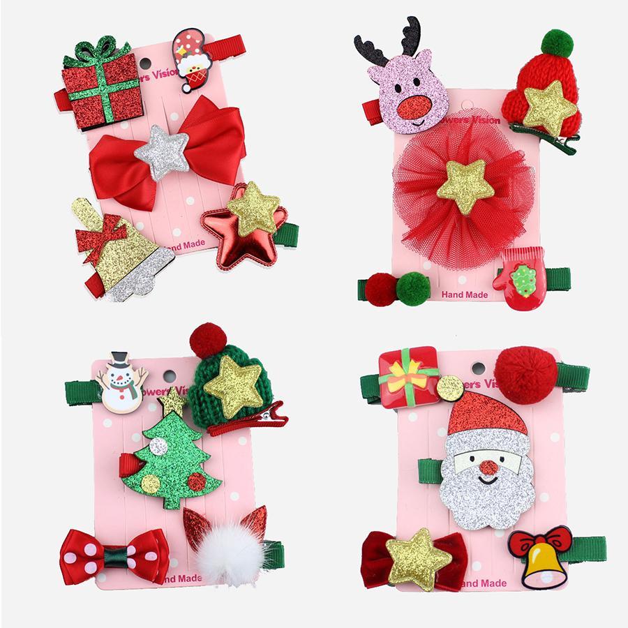 Nouveaux enfants de Noël pince à cheveux épingles à cheveux accessoires dessin animé mignon Santa Claus couronne filles princesse main Barrettes coiffe