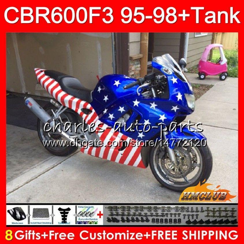 Body + Tank für HONDA CBR 600F3 600cc USA Flagge oben CBR600 F3 95 96 97 98 41HC.1AA CBR 600 FS F3 CBR600FS CBR600F3 1995 1996 1997 1998 Verkleidungs