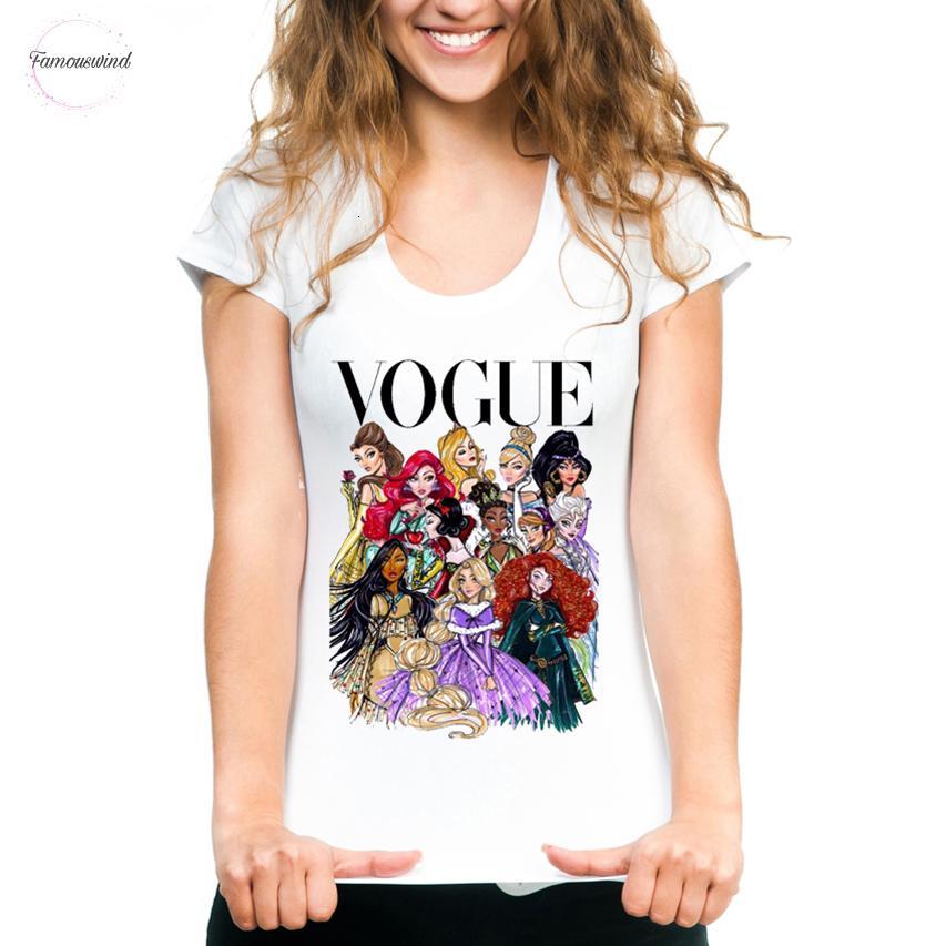 펑크 공주 프린트 T 셔츠 여름 스타일 패션 티 T 셔츠 재미 하라주쿠 짧은 소매 캐주얼 여성 Lovrly 탑스