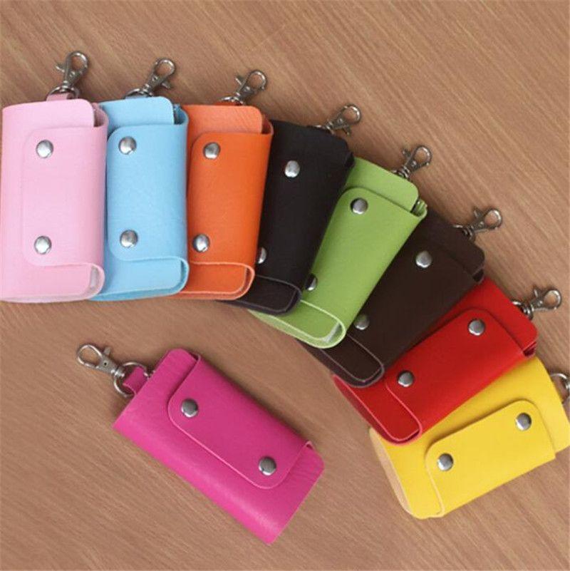 New Key Anel chave do carro Bag Moda simples PU carteira pequena chave anel várias cores
