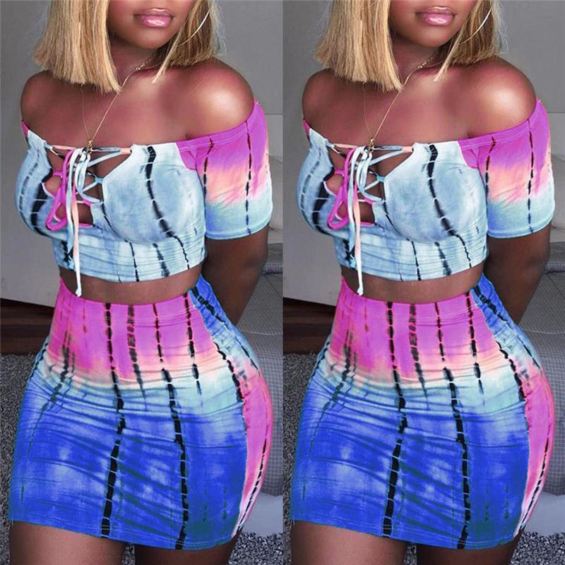Mujeres S ropa de 2 pedazos atractivo caliente de las mujeres conjuntos de 2 Bodycon Tops camiseta por el cuello a juego Tops caliente rayada del club