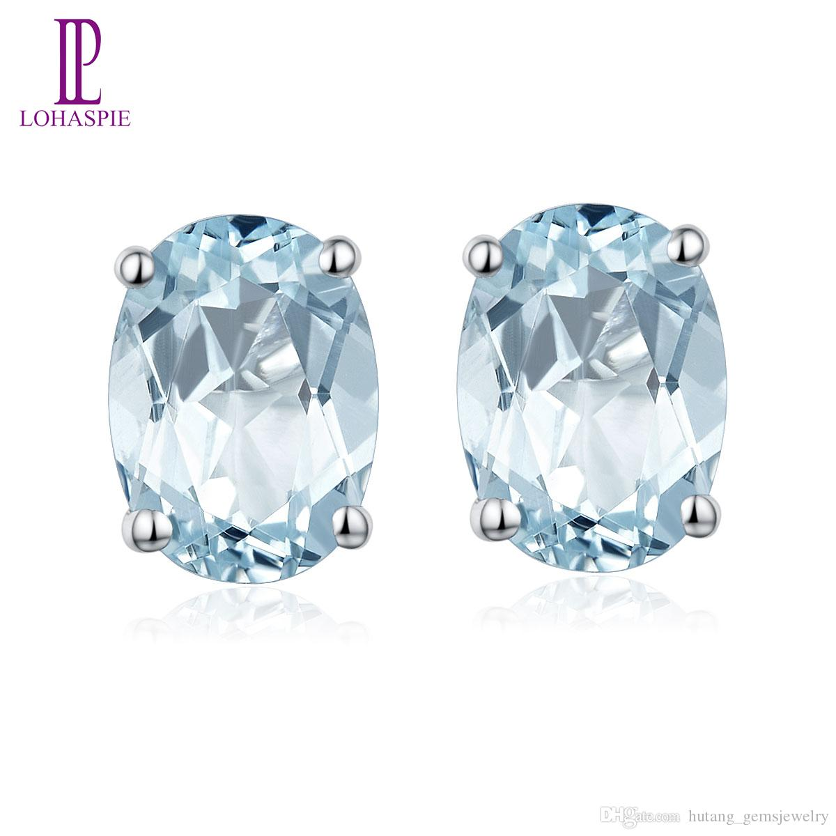 1.341ct Stud Earrings Natural Aquamarine Oval 7x5mm Solid 925 Sterling Silver Gemstone Fine Fashion Women Lady Wholesale Girl Jewelry Gift