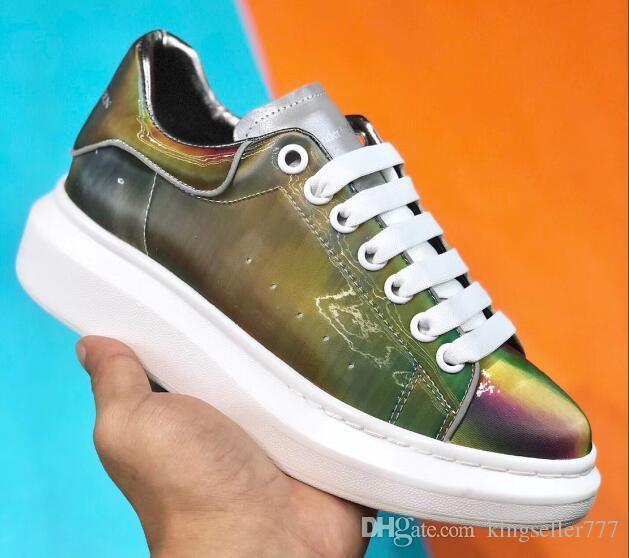2020 sıcak Lüks Tasarımcı Renkli Kadın Erkek Sneakers Konfor Günlük Ayakkabılar Platform Ayakkabılar Deri Lace Up Oxford Deri Elbise Ayakkabı Ayakkabı