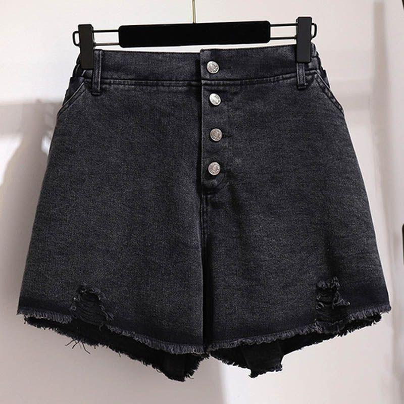 Verano pantalones cortos de mezclilla mujeres más el tamaño de la cintura de 152 cm de cadera 113cm 5XL 6XL 7XL 8XL 9XL arrancó mujeres de los cortocircuitos de pierna ancha de color negro
