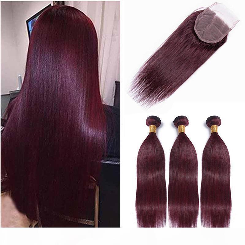Горячие продажи перуанский 99j прямые девственные волосы переплетения с закрытием перуанский бордовый человеческих волос 3 пучки с 4x4 кружева закрытия
