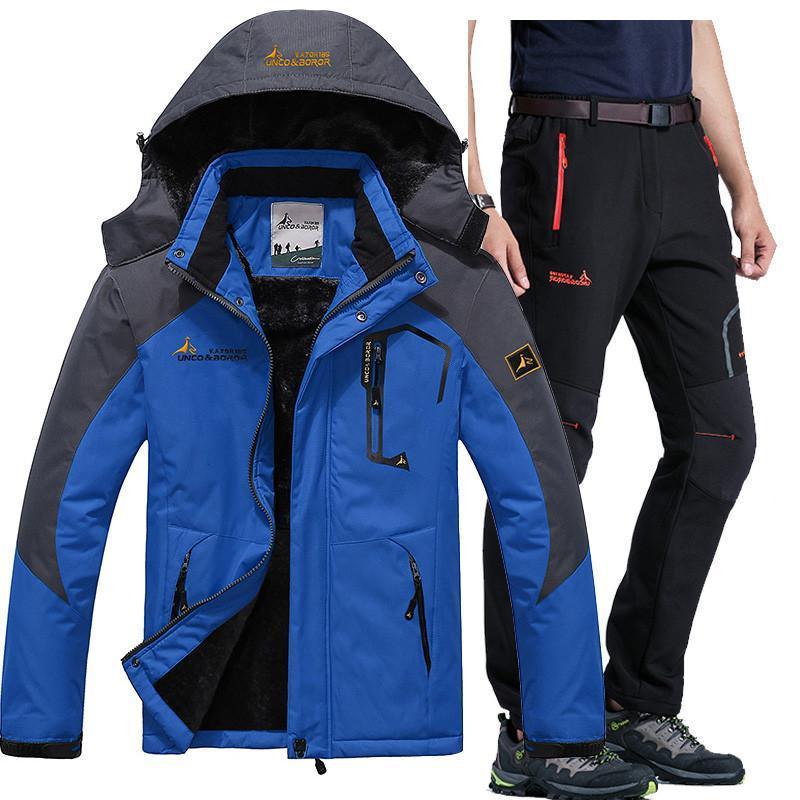 Wholesale-Invierno Esquí adapta a la chaqueta impermeable de los hombres Fleece Nieve capa de la chaqueta térmica al aire libre Montaña Esquí Snowboard juegos de bragas L-5XL