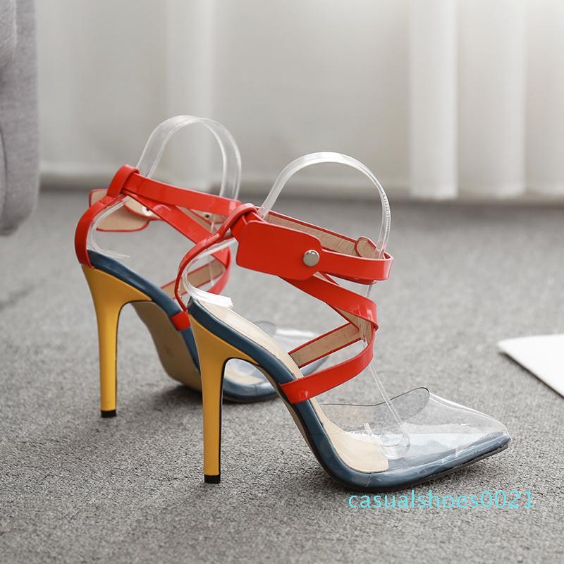Bombas calcanhar Rxemzg sapatos de verão mulher alta com tira no tornozelo sapatos dedo apontado moda multicolor PVC sandálias C21 sandálias mulheres verão
