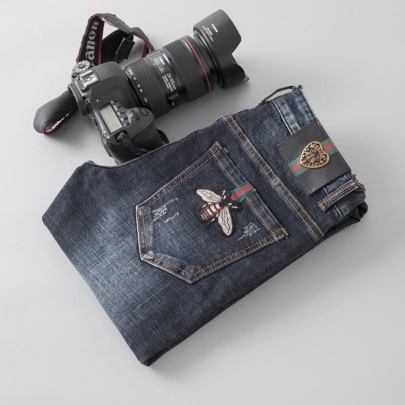 Melhores calças confortáveis Vendedor Homens de Moda de Nova desgaste original do projeto Jeans homens heterossexuais Calças Bordados