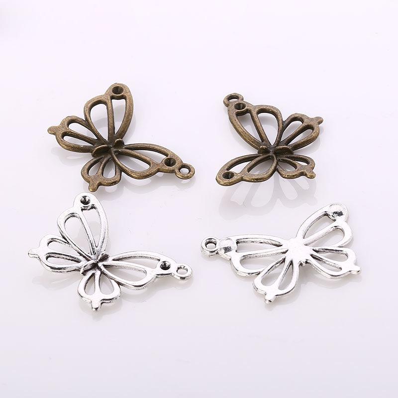 Vendita 200pcs Hot / bag argento antico bronzo gioielli 27 * 17 millimetri fascini della farfalla i pendenti del progettista Fare Collana Bracciale Accessori migliore regalo