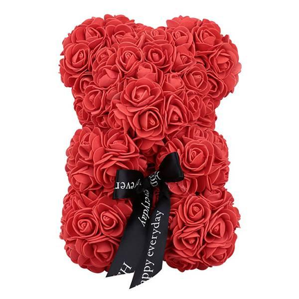 25Cm Foam Bear Of Roses Bear Rose Flower Artificial birthday Gifts For Women girl Valentines wedding anniversary gifts