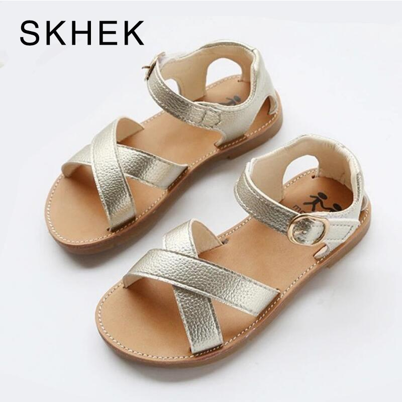 Skhek Pu Leather Girls Shoes Kids Summer Baby Girls Sandals Shoes Skidproof Toddlers Infant Children Kids Shoes Black Gold White MX190726