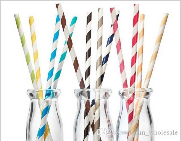 FDA Eco-friendly colorido beber canudos De Papel Chevron Stripe Dot beber palhas de papel favor de Partido 25 pçs / lote