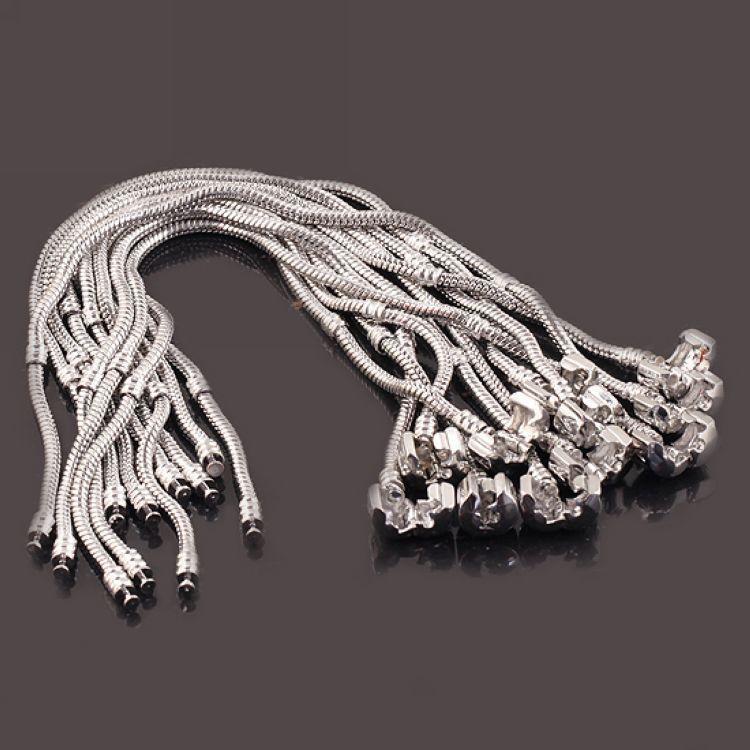 925 Sterling Silver Chain Bracelets 3mm Snake Chain Fit Pandora Charm Bead Bangle Bracelet Jewelry Gift For Men Women